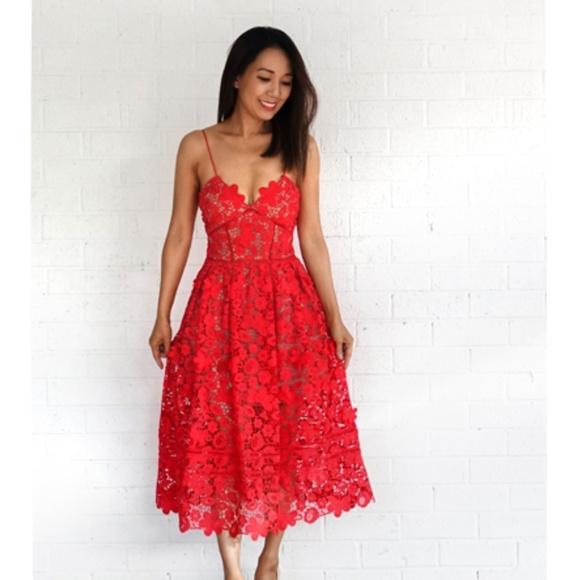 242d952b1d1a Self-Portrait Dresses | Selfportrait 3d Floral Azaelea Dress Tomato ...